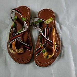 African print little boys' sandals. The part with